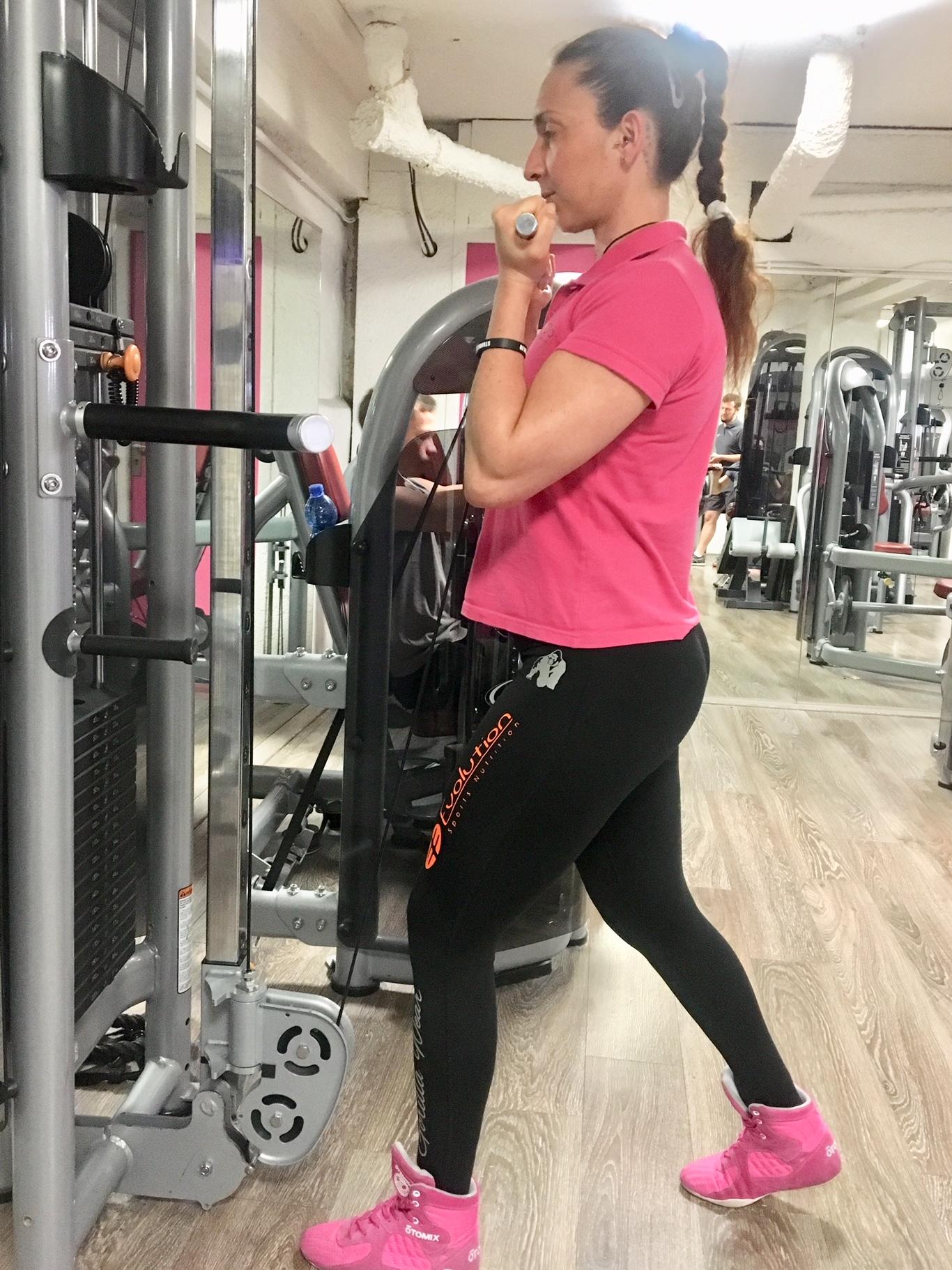 exercice fente a la poulie
